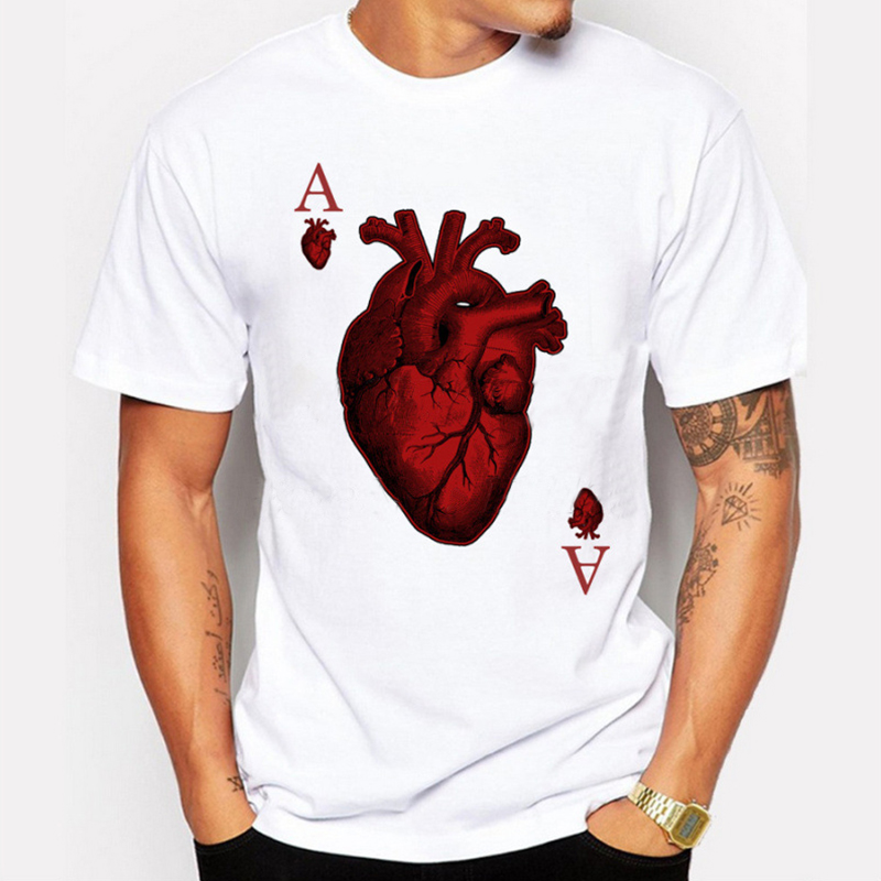 new arrivals 2017 men's fashion designer heart poker t-shirt Harajuku funny tee shirts Hipster O-neck cool tops M-4XL