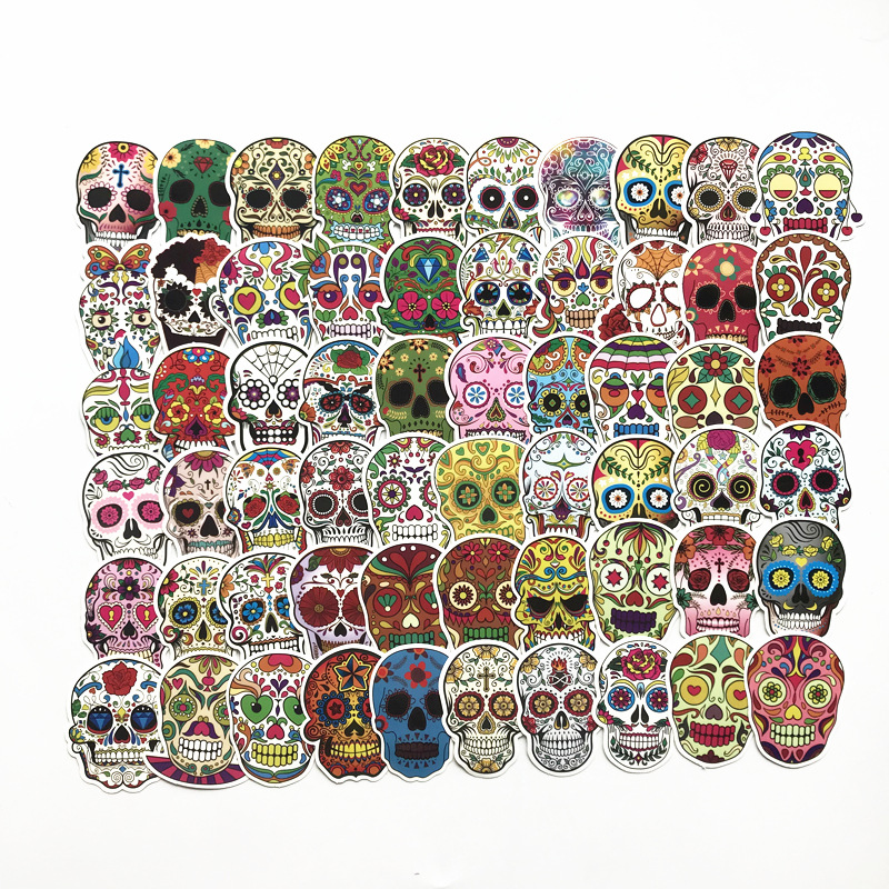 60Pcs/Lot New Waterproof Skull  Funny Laptop Sticker For Trunk Snowboard Guitar Fridge Decal Car-Styling Toy Stickers