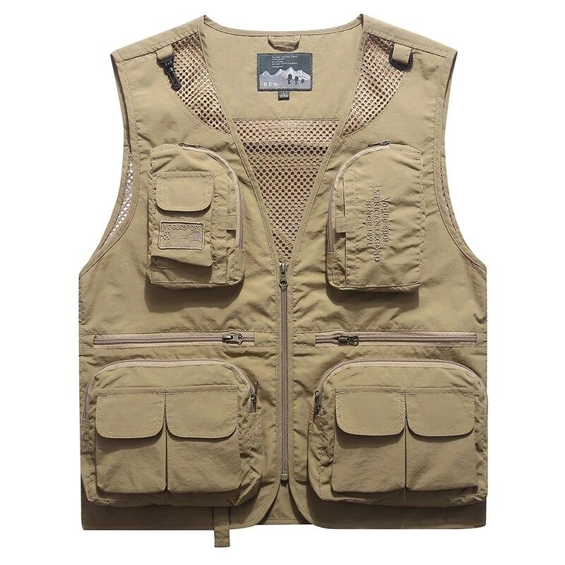 Mens Camera Fishing Outdoor Waistcoat Multi-Pockets Vests Hunting Pocket Casual