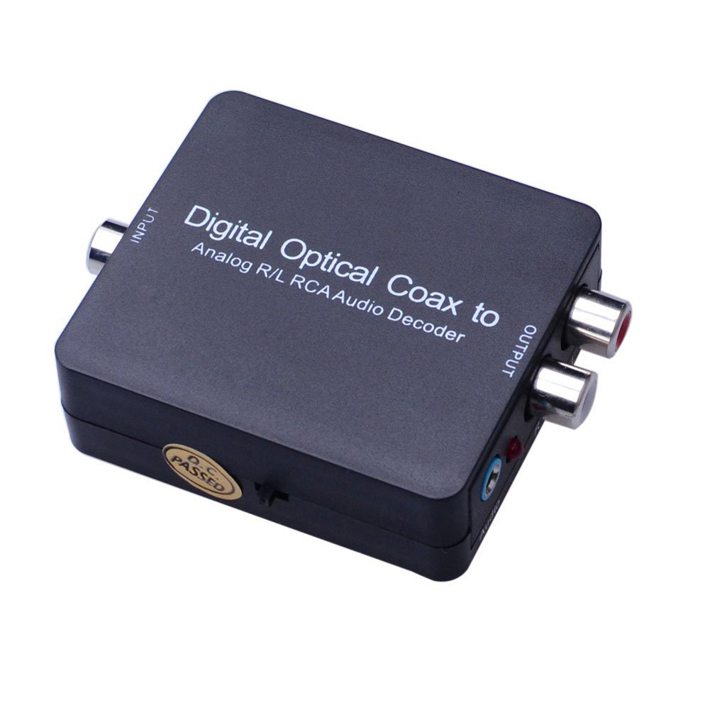 Digital Optical Coax T oslink to Analog R/L RCA Audio Decoder Converter Supports 5.1 Dolby & DTS Decoding