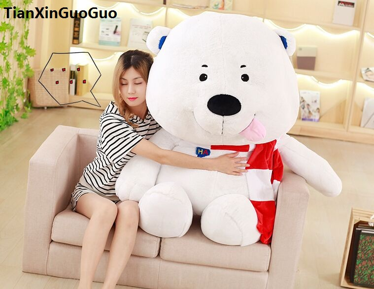 купить stuffed toy lovely scarf white polar bear large 100cm plush toy soft doll hugging pillow birthday gift h2996 дешево