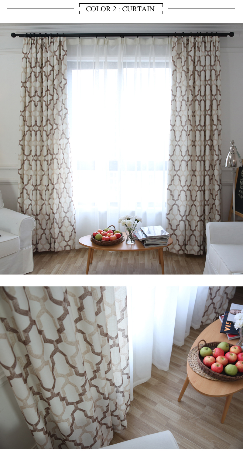 Japan Style Geometric Pattern Printed Linen Curtains For Bedroom ...