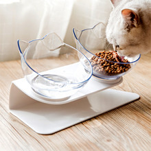 Pet Cat Double Bowl Dog Transparent AS Material Non-slip Food With Protection Cervical