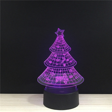 Christmas Tree Merry Happy Holiday Festival LED 3D Acrylic Night Lamp Light With Touch And Remote Lamps Lights Kids Decoration