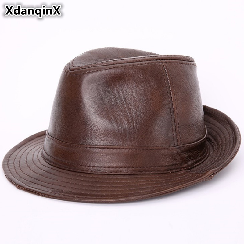 XdanqinX New Men's Genuine Leather Fedoras Hat Winter Cowhide Leather Jazz Hats High Quality Elegant Fashion Women's Brand Cap