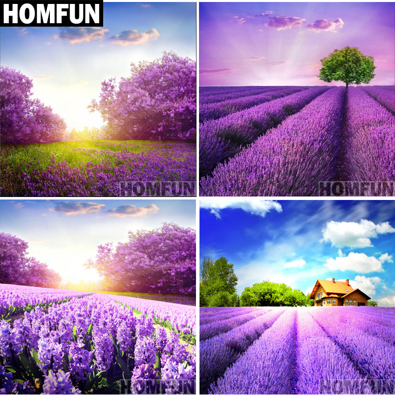 HOMFUN Full Square/Round Drill 5D DIY Diamond Painting lavender fields 3D Embroidery Cross Stitch Mosaic Home Decor Gift