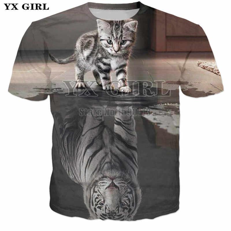 8f017a158 ... YX GIRL new Many kittens printed T-Shirt 3D Print cat tshirts Women  Summer O ...