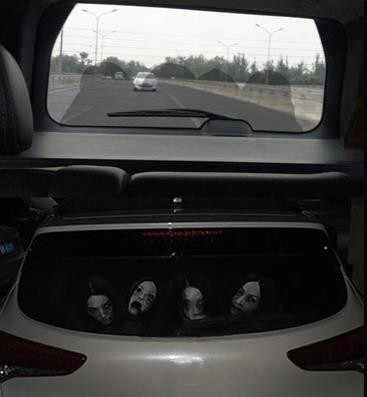 Horreur voiture autocollants diable femme fantôme personnages peur feux de route personnalité créative perspective dégagée vue autocollant-57