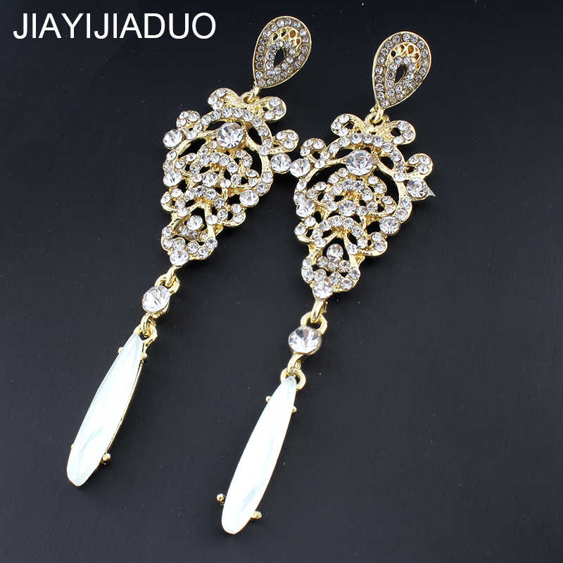 Jiayi Jiaduo Elegant New Arrival Long Earrings for Women Gold/Silver Color Crystal Drop Earrings Wedding Jewelry Accessories