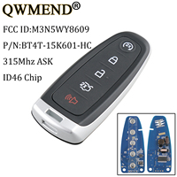 QWMEND 5Buttons Smart Remote Car Key For M3N5WY8609 315Mhz For Ford Edge Escape Expedition Explorer Focus Taurus Flex Car keys