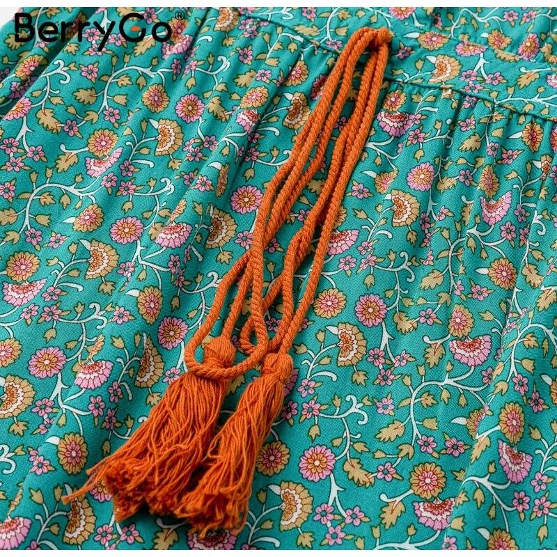BerryGo women dresses Bohemian dresses print summer dress Short sleeve ruffled long maxi dress v-neck drawstring ladies vestidos 8