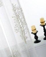 Árvore bordada voile cortinas para sala de estar tule janela cortina para sala luxo rideaux pour le salão CL-33
