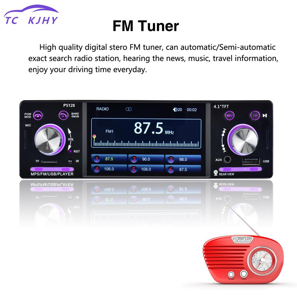 4.1 Inch 1 Din Hd Bluetooth Car Stereo Radio Auto Mp3 Mp5 Music Player Support Usb Fm Tf Aux + Steering Wheel Remote Control 1 din in dash 4 1 hd bluetooth hands free car mp5 aux usb tf card mp3 player fm radio tuner steering wheel control autoradio