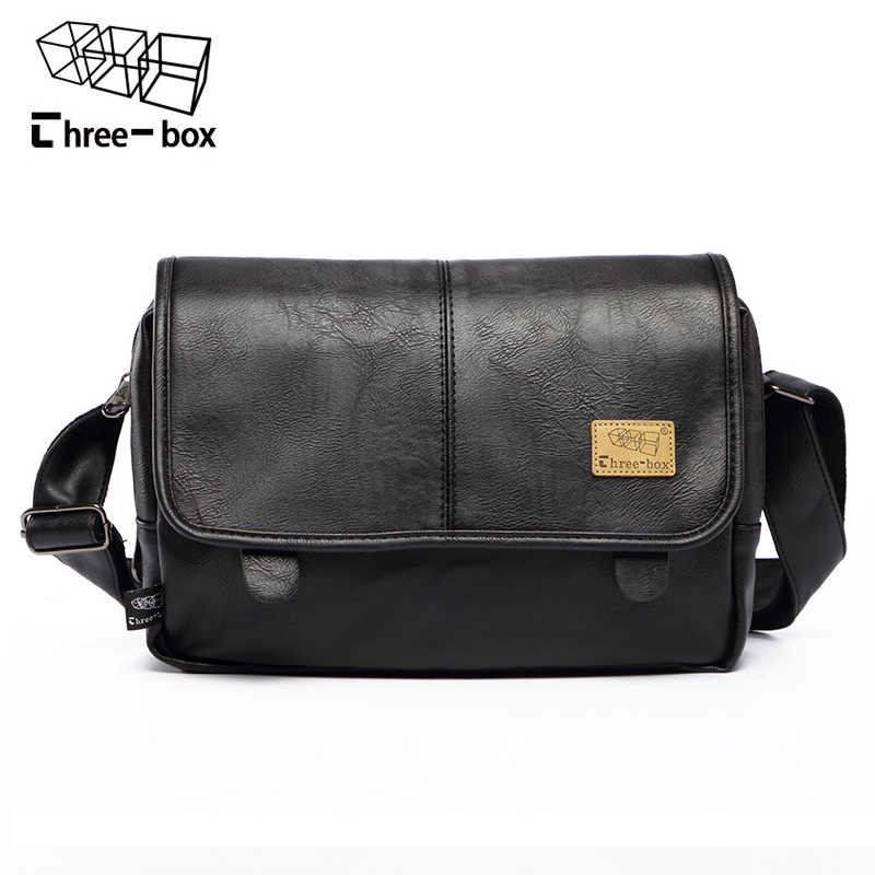 Three-box Brand Fashion PU Leather Men Messenger Bag Vintage Men s Bags  Crossbody Bags For 20e30247e39ed