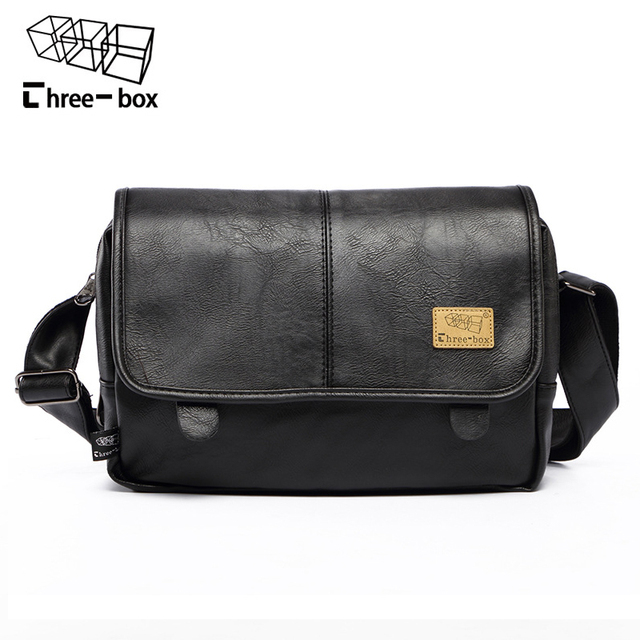c018d3fe63 Three-box Brand Fashion PU Leather Men Messenger Bag Vintage Men s Bags  Crossbody Bags For