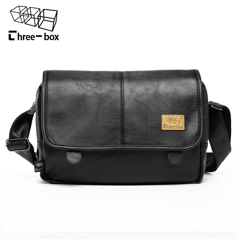 three-box Brand Fashion PU Leather Men Messenger Bag Vintage Men's Bags Crossbody Bags For Man Casual Shoulder Bag Bolsa aosbos fashion portable insulated canvas lunch bag thermal food picnic lunch bags for women kids men cooler lunch box bag tote