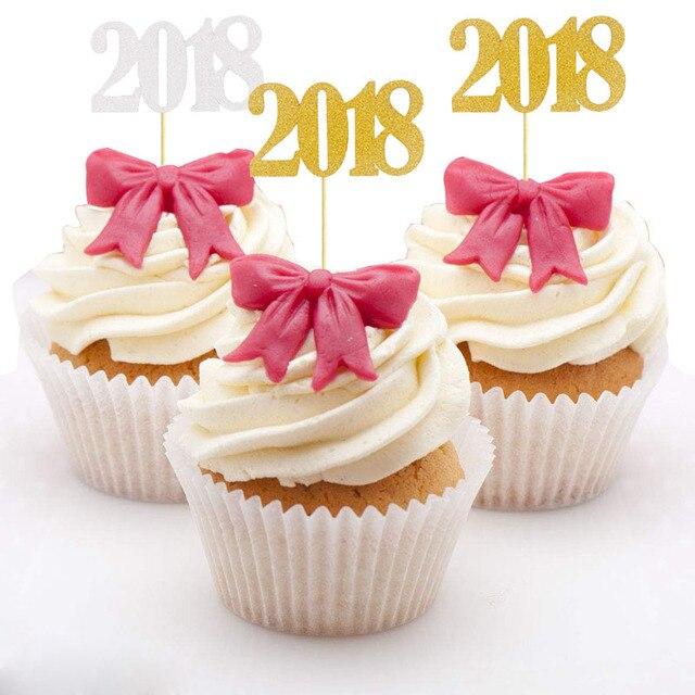 10pcs 2018 Happy New Year Eve Cake Topper Christmas Graduation