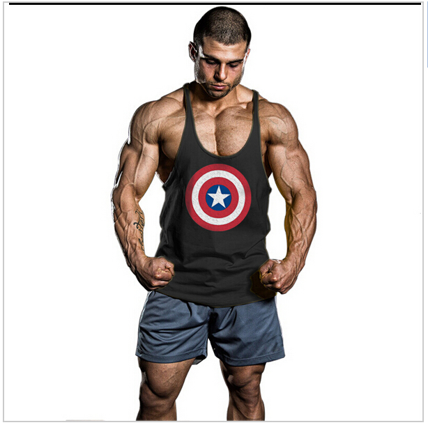 Summer captain america gymnasium superman singlets mens tank top tshirt stringer bodybuilding golds clothing cotton gyms