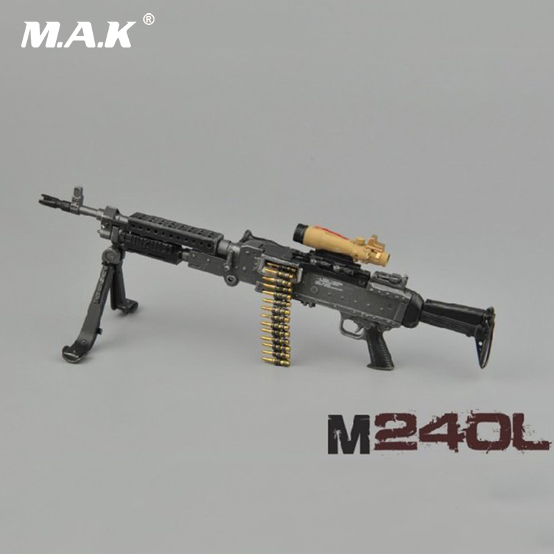 For Collections 1:6 ZY16 9 M240L 7.62mm General Machine Guns Rifle Weapon Model for 12 Action Figure Accessories