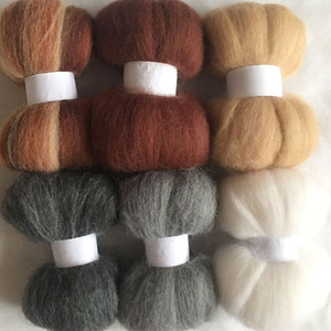 WFPFBEC diy 70S HOME HAND wool for needle felting doll eyes nose mat handle set mix merino wool roving fiber 10g/bag 6colors