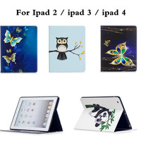For Apple IPad 2 IPad 3 Shockproof PU Leather Case For IPad 4 Retina Cute Butterfly