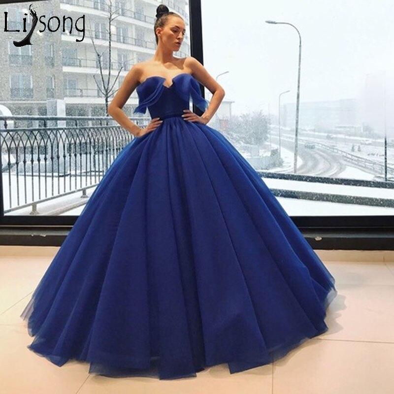 Lebanon 2018 Royal Blue   Prom     Dresses   Off the Shoulder Ball Gown Ruffles Long Evening   Dress   Engagement Photos Custom Made Cheap