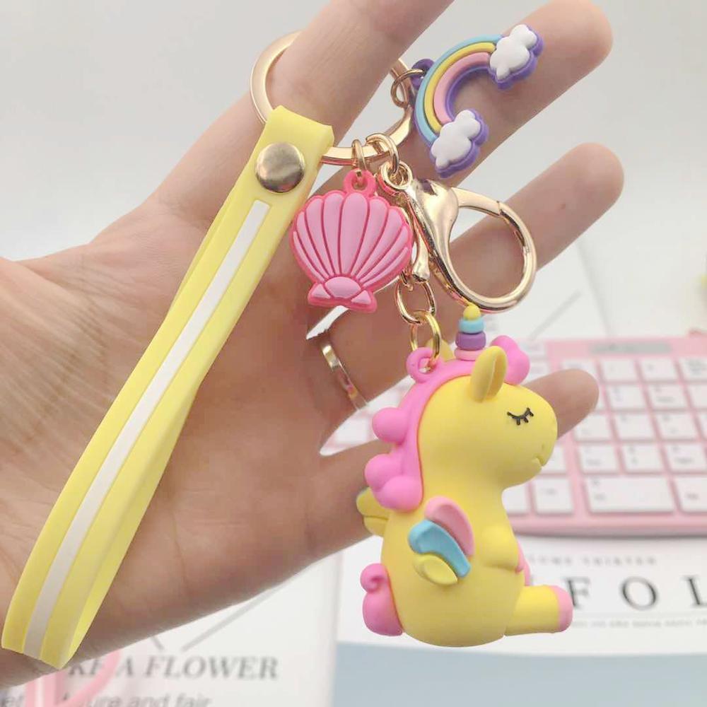 Rainbow PVC Animal Unicorn Keychain for Men Women Bag Ornament Phone Key Chain Porte Clef Girl keyring Bag Decoration Pakistan