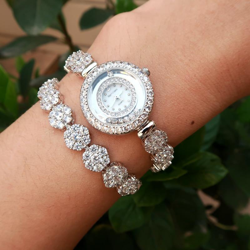 Dobrej jakości AAA cyrkon elementy liść austriacka kryształ bransoletka zegarek dla Wedding Party biżuteria wykonana z sprzedaż hurtowa w Bransoletki łańcuszkowe od Biżuteria i akcesoria na  Grupa 1