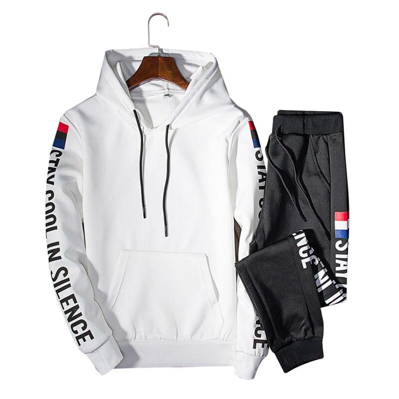 2 Piece Tracksuit Set 2019 Spring Causal Mens Jogger Sweat Suit Men Gym Straight Long Sleeve Hip Hop Hoodie Sportwear Male Suit