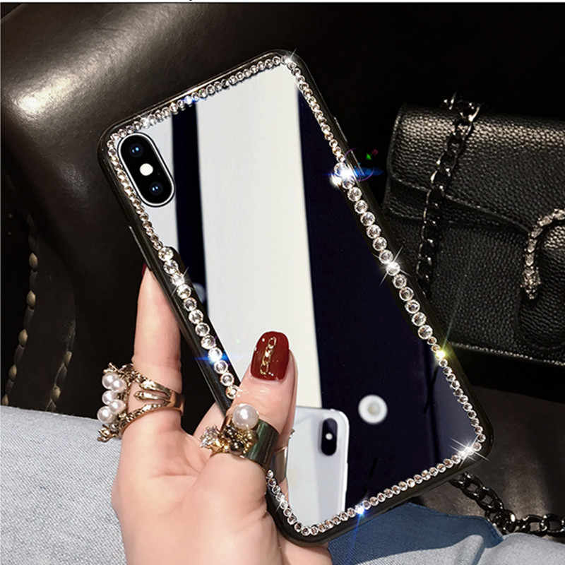 Nuevo espejo de red de maquillaje de diamantes de imitación funda femenina para iPhone 7 8 Plus para iPhone 6 Plus X XR Xs max Soft Shell