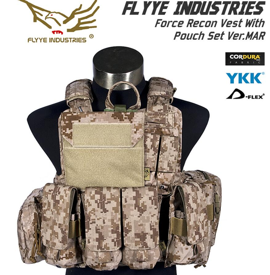 In stock FLYYE genuine MOLLE  Military Tactical Vest  Force Recon Vest with Pouch Set Ver.MAR  VT-M004