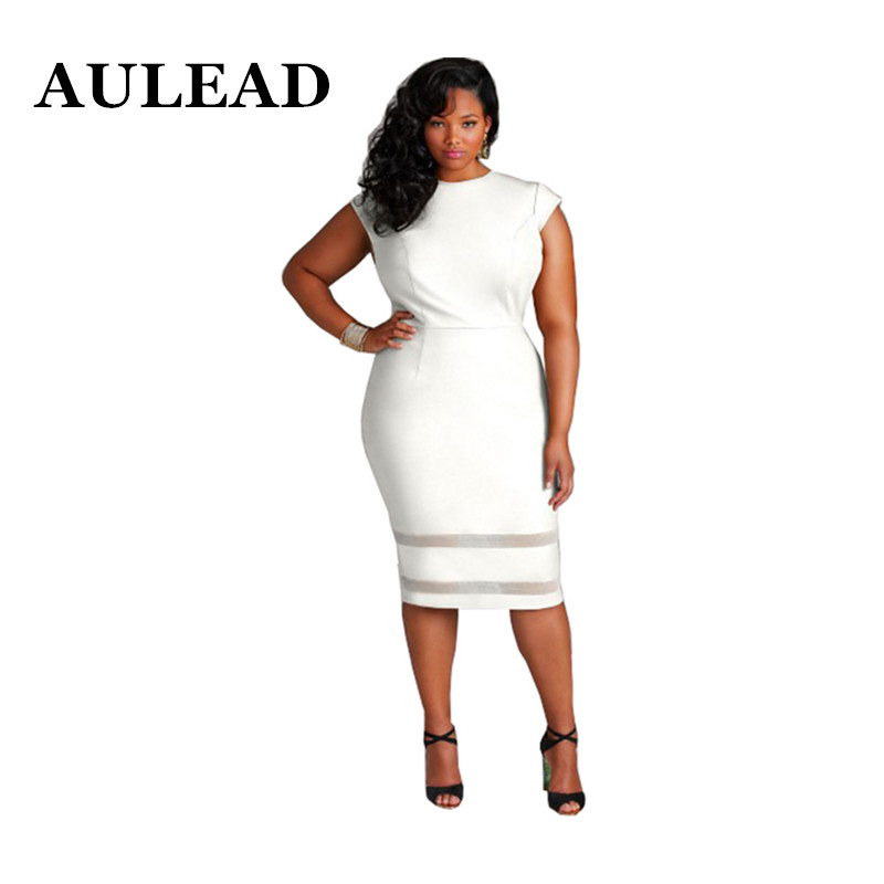 8f610d93a41b6 AULEAD 2018 Spring Women Dress New Large Size Dress Fashion Sexy Dresses  Round neck Knee Length off White Plus size 5XL Vestido-in Dresses from  Women s ...