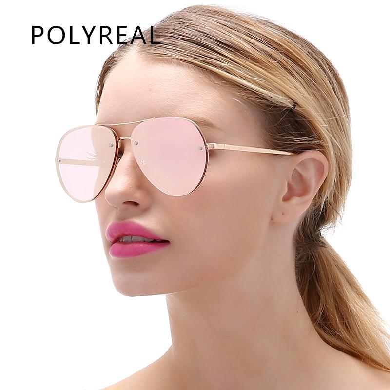 b84324f89864c POLYREAL النساء بدون شفة الطيران النظارات الشمسية الرجال الأزياء مرآة  الطيار نظارات شمسية ل الذكور القيادة نظارات الرؤية الليلية
