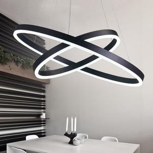 Image 1 - مصباح إضاءة حديث أسود أبيض اللون لغرفة المعيشة وغرفة الطعام 3/2/1 حلقات دائرية بإضاءة ليد مصباح سقف تركيبات