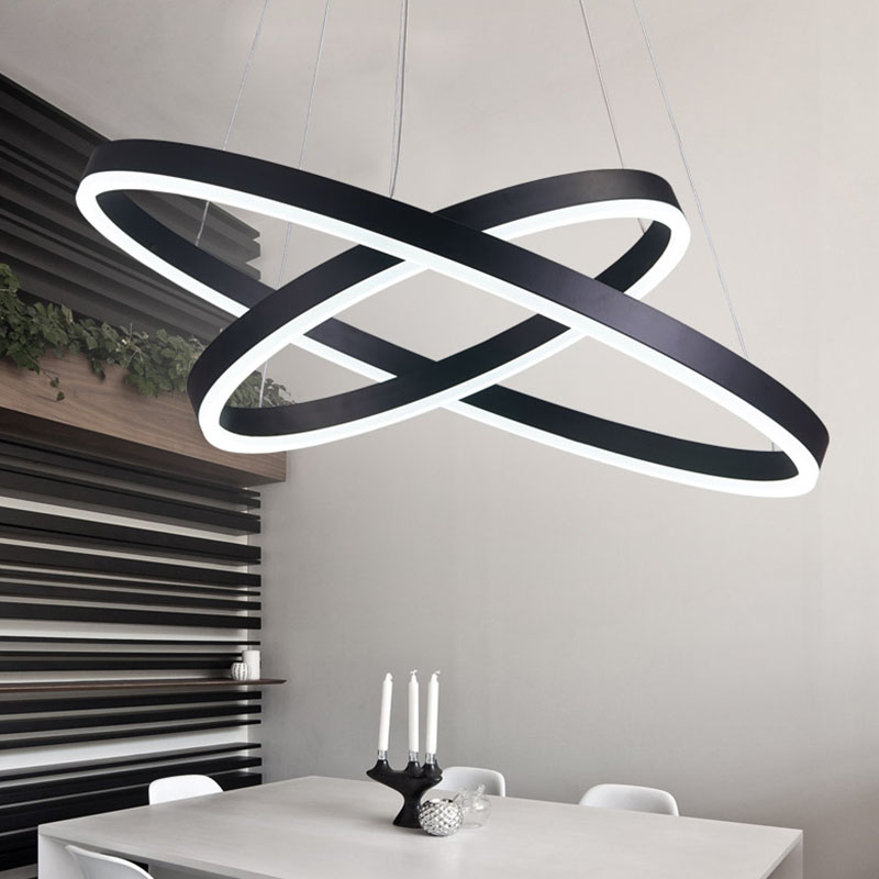 Black White Color Modern Pendant Lights For Living Room Dining Room 3/2/1 Circle Rings LED Lighting Ceiling Lamp Fixtures