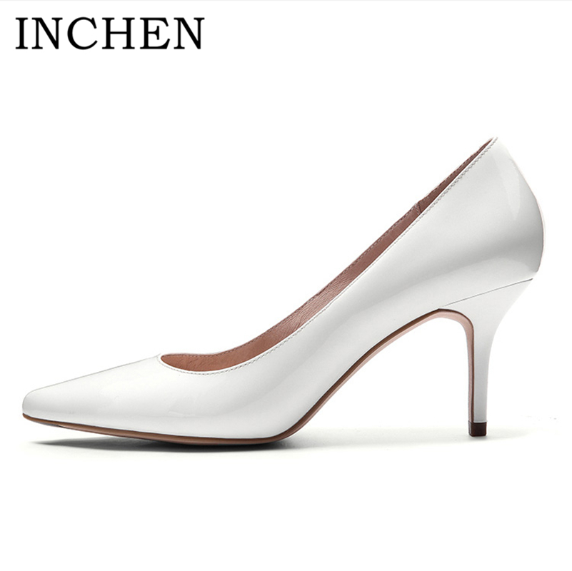 INCHEN Leather Pumps Top Quality Genuine Leather Thin High Heels Pumps Work Wedding Party Pumps Sexy Pointed Toe Shoes Women G1 genuine cow leather female women s 10cm heels pumps round toes black beige quality female pr354 wedding party work pumps shoe