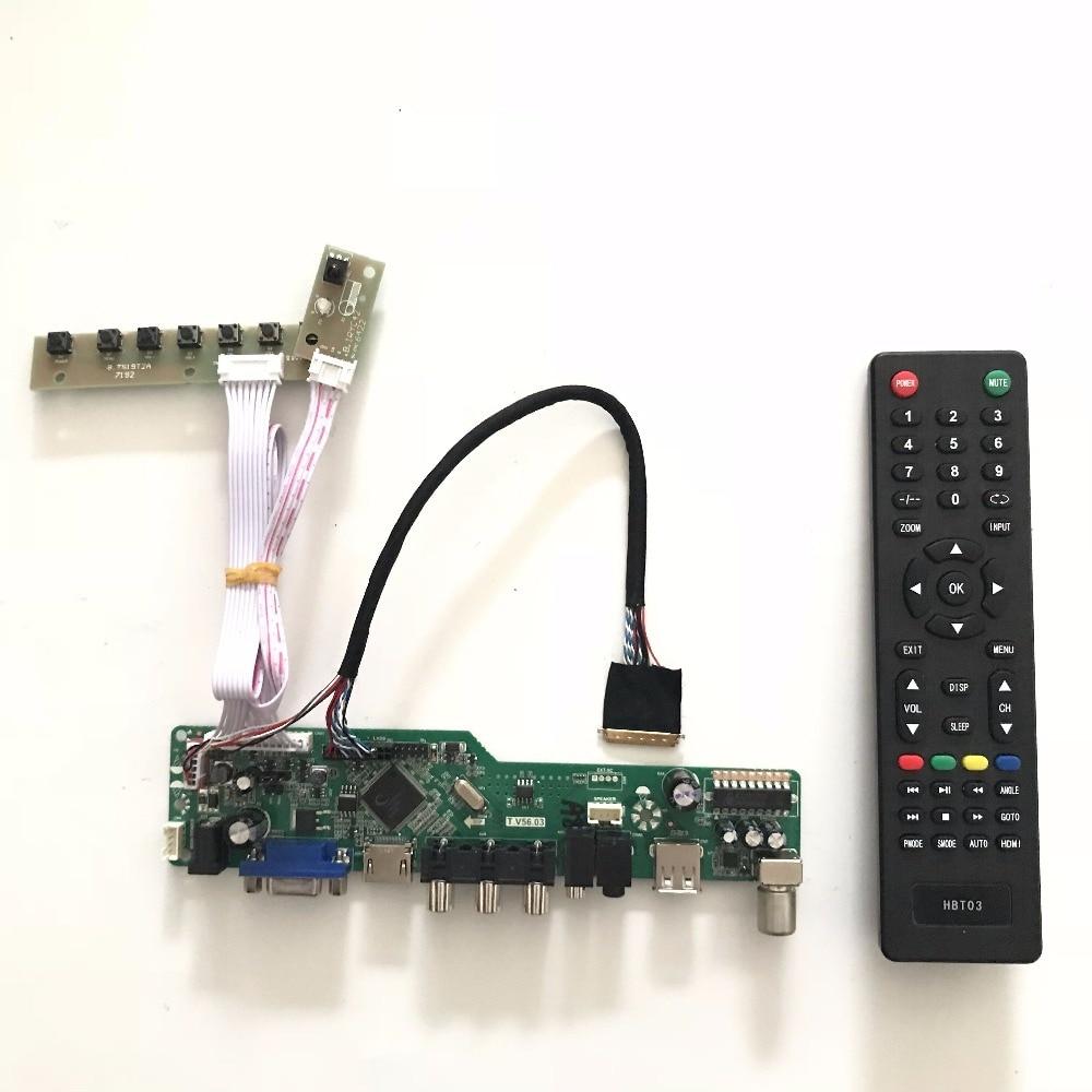 T.V56.03 Universal VGA HDMI AV Audio USB TV LCD Controller Board for 15.6 inch 1366x768 LP156WH2-TLAA LED Monitor Kit high quality v56 universal lcd tv controller driver board pc vga hdmi usb interface