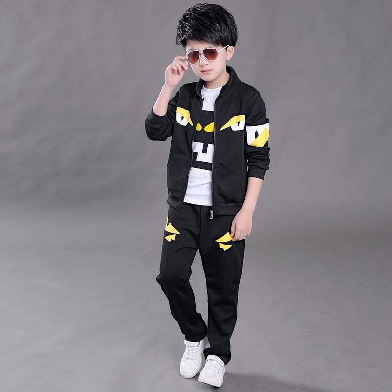 New Autumn Children's Clothing Sets Kids Boys Zipper Clothes Set Sport Suits Cartoon Girls Boys Tops+Tshirt+Pants 3 Piece Sets