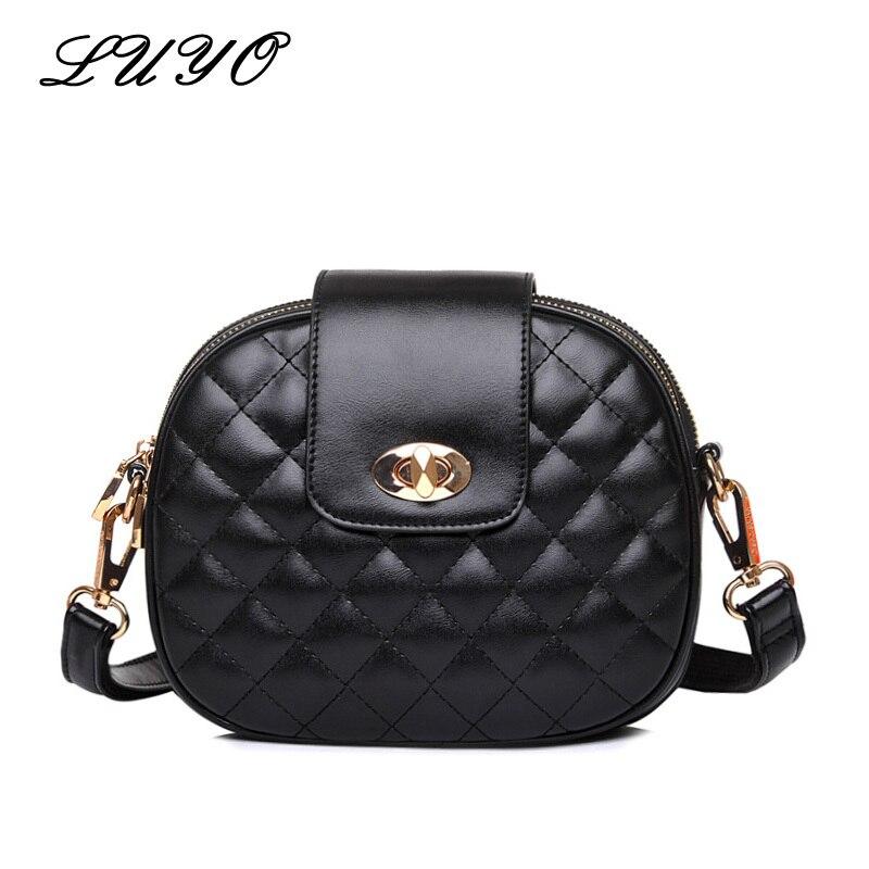 LUYO Fashion Small Leather Diamond Lattice Women Messenger Bags Plaid Round Crossbody Summer Girls Shoulder Bag Black Sac