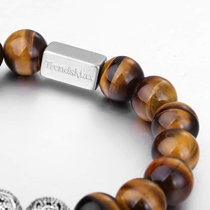 Image 3 - Trendsmax 10MM A Tiger Eye Beaded Bracelets Women Men Natural Stone Stretch 925 Sterling Silver High Quality Jewelry TBB005