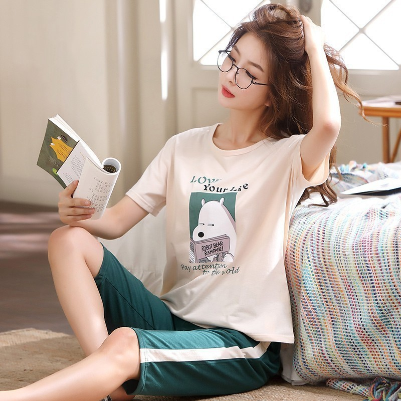 New Arrivals Knitted Cotton Summer Short Sleeved Plus Size M-5XL Women   Pajamas     Set   Pyjamas Women Sleepwear Cute Cartoon Pijamas