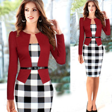 Women Summer Elegant Belted Tartan Patchwork 3/4 Sleeve Tunic Work Business Casual Party Bodycon Pencil Sheath Dress S-XXL3103K3