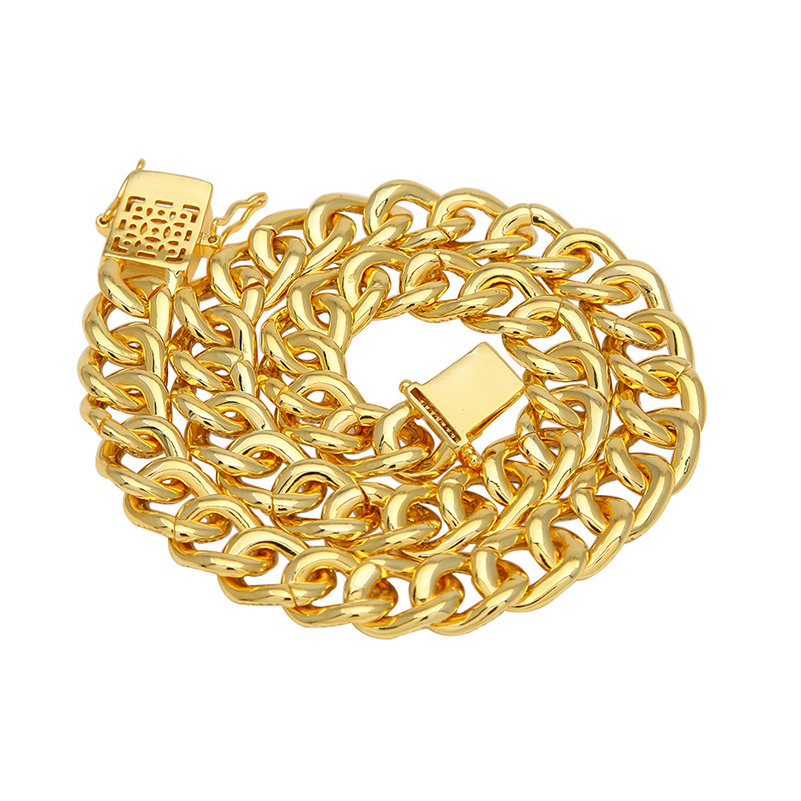 Custom new hip hop mens zircon necklace gold color plated chain for men women cuban Jewelry dropshipping APK2241Custom new hip hop mens zircon necklace gold color plated chain for men women cuban Jewelry dropshipping APK2241