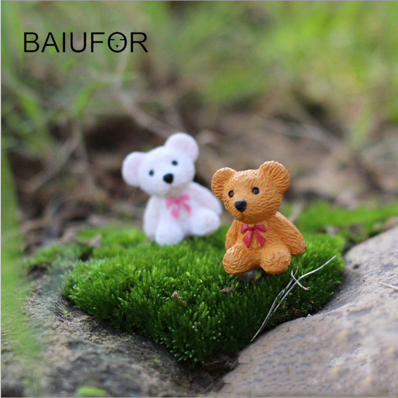 BAIUFOR Mini Bear Craft Miniatures for Fairy Garden Terrariums Figurines Succulents Decor Thumb Animal for home decor 4pca/lot