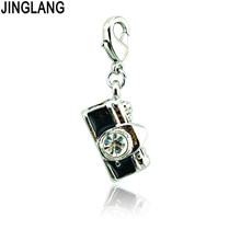 JINGLANG Brand New Lobster Clasp Dangle Rhinestone Camera Charms DIY Alloy Pendants Making Jewelry Accessories(China)