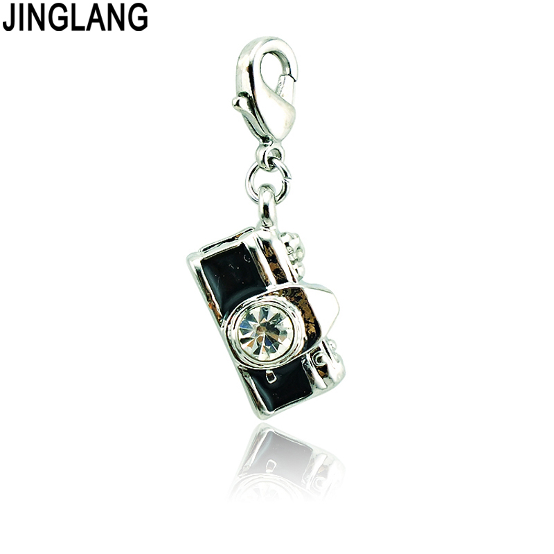 JINGLANG Brand New Lobster Clasp Dangle Rhinestone Camera Charms DIY Alloy Pendants Making Jewelry Accessories