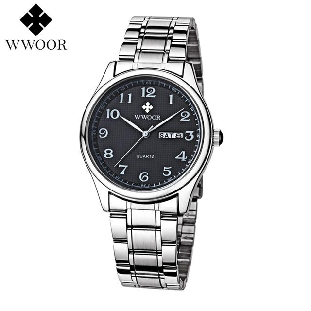 WWOOR Relógios Men Quartz Negócios Moda Casual Relógio de Aço Completa Data Mulheres Amante Casal 30 m À Prova D' Água Pulso WOR12