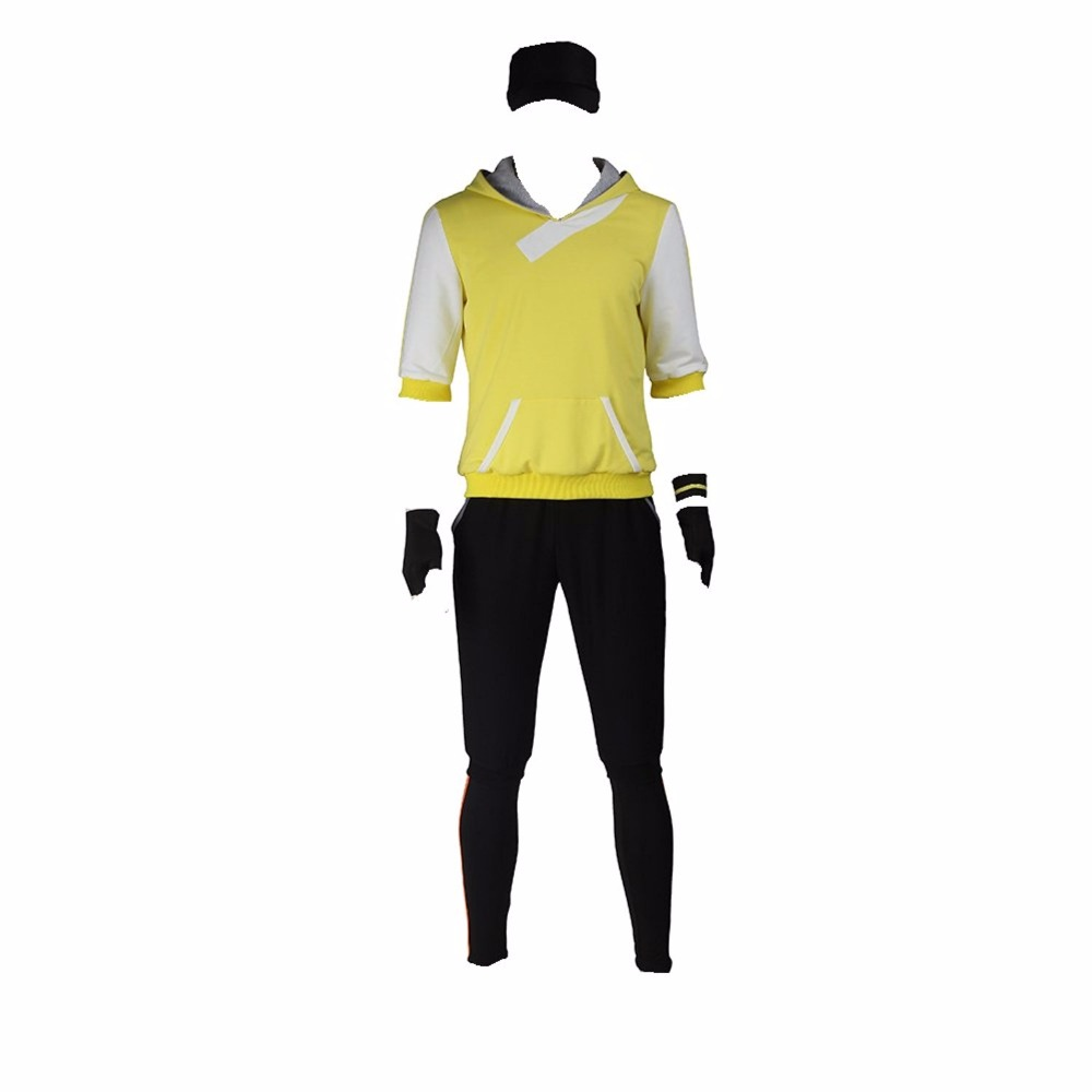 Mens Pokemon Go Teams Trainer Cosplay Costume Yellow Suit