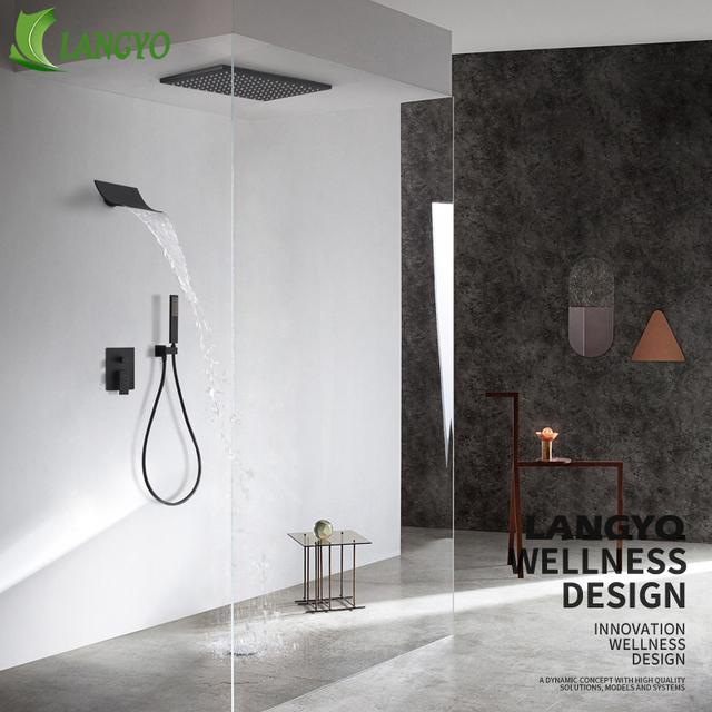 Black Bathroom Rain Shower Set  – 10/12/16 inch Mounted Waterfall Shower