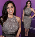 America Ferrera Sparkly Celebrity Dresses Party Dresses O Neck Tea Length Sequins Beads Sheath Red Carpet Oscar Vestidos